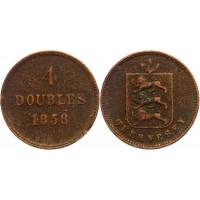 Гернси 4 Дубля 1858 год VF KM# 2 (КОЮ) (#ФР-00118542)