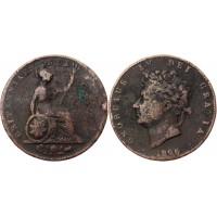 Великобритания 1 Фартинг 1826 год VF KM# 697 Георг IV (КОЮ) (#ФР-00121757)