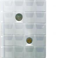 """Лист """"Эконом"""" для хранения монет на 20 ячеек с """"клапанами"""", Стандарт """"Optima"""". 10 штук."""