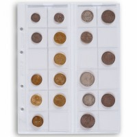 Листы для 24 монет Leuchtturm (Германия).  Скользящие. Формат Optima. 5 шт.
