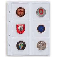 Лист на 6 монет до 65 мм, Leuchtturm (Германия).  Скользящие. Формат Optima. 1 шт.