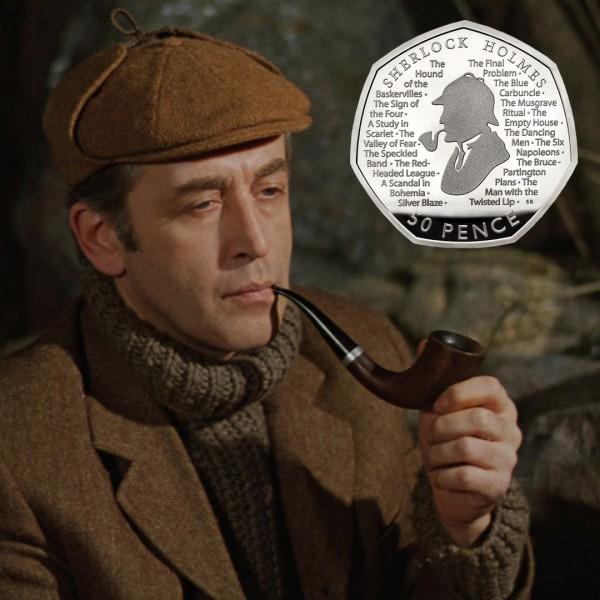 50 пенсов с изображением Шерлока Холмса