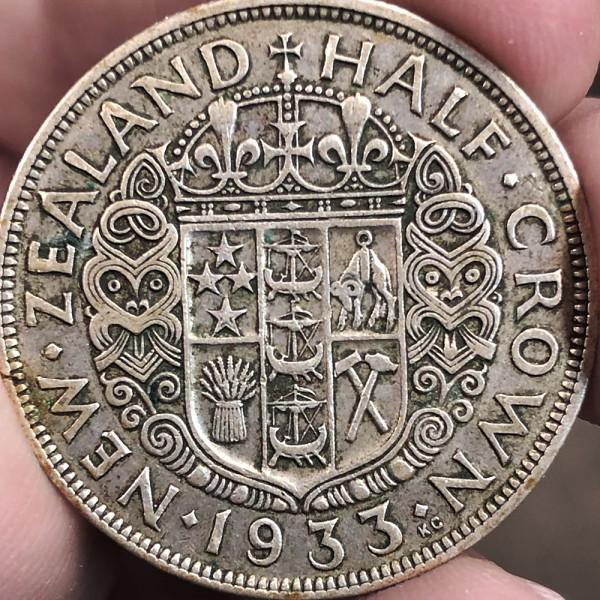 Красивая монета Новой Зеландии ½ кроны 1933 года