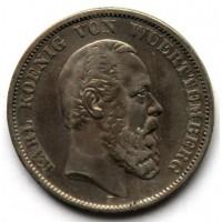 ВЮРТЕМБЕРГ 5 марок 1875 СЕРЕБРО !! КАРЛ