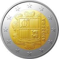 АНДОРРА 2 евро 2014 UNC!! ГЕРБ КНЯЖЕСТВА АНДОРРА
