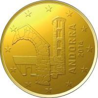 АНДОРРА 20 евро центов 2014 UNC!! ЦЕРКОВЬ САНТА-КОЛОМА