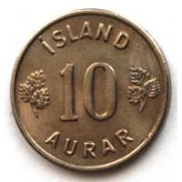 ИСЛАНДИЯ 10 эйре 1969 UNC!! KM#10