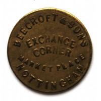 ВЕЛИКОБРИТАНИЯ / НОТТИНГЕМ 1 фартинг 1862 МАГАЗИН ИГРУШЕК «BEECROFT & SONS» ВИКТОРИЯ