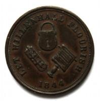 ВЕЛИКОБРИТАНИЯ 1 фартинг 1844 «LET WILLENHALL FLOURISH» СЕМЕЙНЫЙ ЧАЙНЫЙ И ПРОДУКТОВЫЙ МАГАЗИН РАШБРУКА