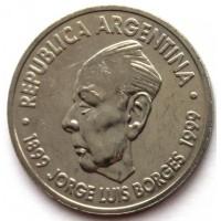 АРГЕНТИНА 2 песо 1999 UNC!! 100 ЛЕТ СО ДНЯ РОЖДЕНИЯ БОРХЕСА