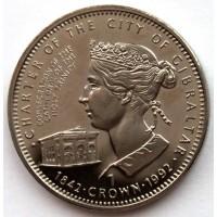 ГИБРАЛТАР 1 крона 1992 UNC «150 ЛЕТ ХАРТИИ ГИБРАЛТАРА»