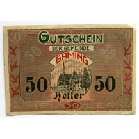АВСТРИЯ / ГАМИНГ 50 геллеров 1920