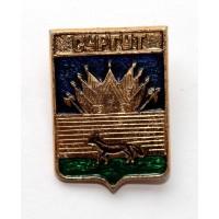 СССР сувенирный нагрудный знак «ГЕРБЫ ГОРОДОВ СССР» СУРГУТ