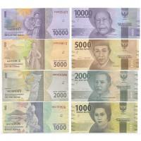 Индонезия 1000 2000 5000 10000 Рупий 2016 год UNC P# 154a, 155a, 156a, 157a Национальные Герои Набор из 4 банкнот