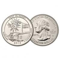 США 25 центов 2013 D год UNC Прекрасная Америка № 19 Форт Мак-Генри