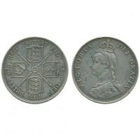 Великобритания 1 Флорин 1887 год Серебро AUNC KM# 762 Королева Виктория