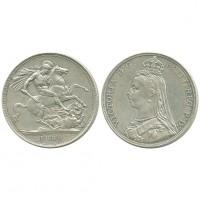 Великобритания 1 Крона 1889 год Серебро AUNC KM# 765 Королева Виктория