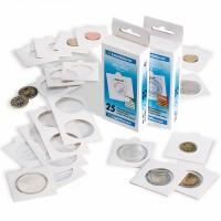Холдер самокл. белый для монет D до 25 mm 50х50(25 штук)