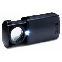 Лупа 30-кратная черная пластиковая выдвижная с подсветкой