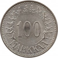 Финляндия 100 марок (markkaa) 1957 H