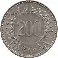 Финляндия 200 марок (markkaa) 1958 H